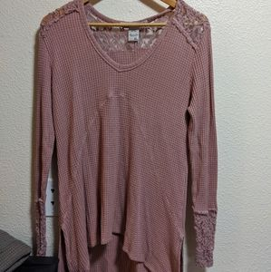 Lace Flannel Top A018